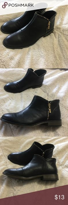 Size 10 Black Zipper Booties Size 10 Charming Charlie Brand Black Zipper Booties. Gorgeous Gold Zipper Accent. Only worn once! Great Condition! Reasonable Offers Welcome! Charming Charlie Shoes Ankle Boots & Booties