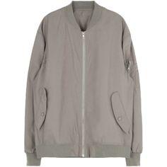 Taupe Bomber Jacket (£51) ❤ liked on Polyvore featuring outerwear, jackets, bomber jacket, taupe jacket, flight jacket, blouson jacket and brown jacket