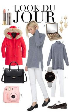 Look Du Jour: Lass knallen!. Grey turtleneck sweater+white pants+black loafers+red wool coat+black handbag+gold earrings+grey and black watch. Fall Casual Business Outfit 2016