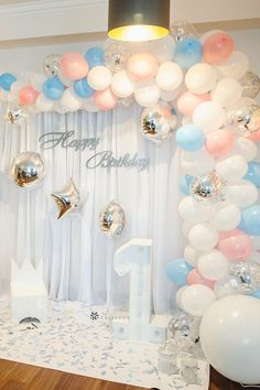 Elegant kids first birthday party photo booth backdrop draping and decorations with cute pink and blue balloon garland arch. Also perfect for gender reveal decorations and baby shower backdrop decorations. #1stbirthdaygirl #1stbirthdaygirlpartyideas #1stbirthdayphotoshoot #1stbirthdayballoons #1stbirthdaybackdrop Birthday Decorations At Home, First Birthday Party Themes, Balloon Decorations Party, Backdrop Decorations, Balloon Garland, 16th Birthday, Birthday Ideas, Birthday Backdrop, Little Girl Birthday