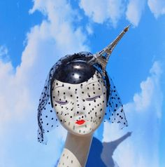 Gold or Silver French Eiffel Tower Fascinator Hat with Dotted Veiling Paris France Pinup, Burlesque, Bastille, Kawaii