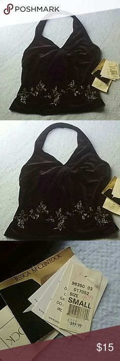 Scott McClintock Velvet Halter Top Small NWT velvet halter top by Scott McClintock / Jessica McClintock it has beaded accents. Size small. Jessica McClintock Tops Blouses