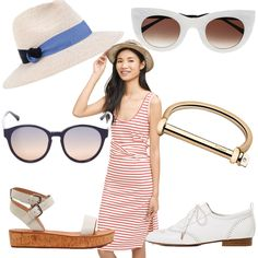 the fourth of july, fourth of july style, what to wear on the 4th of july, eugenia kim, anthropologie, striped dresses, french connection, white sandals, navy sunglasses, 3.1 phillip lim, zara, white oxfords, gold twist bangle, minasai, theirry Lasry, white sunglasses, cat eye sunglasses, the everyday editor, nautical style, blogger style, shopping guide
