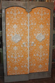 "Elegancia Allover Stencil on wooden doors. Vote for this entry in ""Share Your Royal Design Studio Stencil Love""-Enter Yourself to Win a Stencil Shopping Spree!! Links to our FB Stencil Love contest."