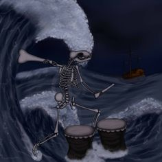 Ahkiyyini- Inuit myth: a dancing skeleton that played drums with human arm bones. Its dancing created vibrations that caused massive waves, which in turn caused many shipwrecks.