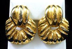 Vintage CINER Gold Tone Statement Hoop Clip Earrings FAB! $48.00 SOLD