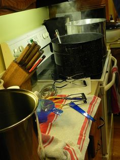 yep, takes the whole kitchen!  This is kinda what my kitchen looks like during canning season.  But I get it done, and love it!!!! Mine looks worse than that.
