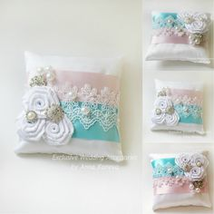 BEST SELLER Blue Pink Wedding Ring Pillow Bearer by JewelryBouquet