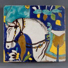 A pair of late century safavid figural cuerda seca tiles — Carcaci Ceramic Pottery, Pottery Art, Paisley Art, Persian Motifs, Paradise Garden, Antique Tiles, Iranian Art, Garden Images, Handmade Tiles