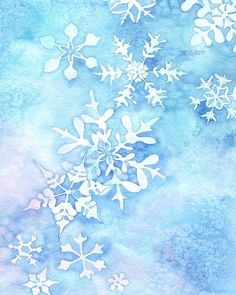 "Items similar to Whimsical Winter Watercolor Painting ""Snowflakes"" ARCHIVAL ART PRINT on Etsy PRINT A simple snowflake painting, but I find it very calming… -~*~-~*~-~*~-~*~-~*~-~*~-~*~-~*~-~*~-~*~-~*~-~*~-~*~-~*~-~*~-~*~-~*~-~*~ This is a … Watercolor Christmas Cards, Watercolor Cards, Watercolor Flowers, Watercolor Paintings, Original Paintings, Watercolor Print, Owl Paintings, Watercolors, Christmas Paintings"