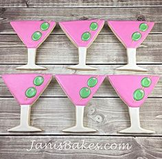 Martini Glass Decorated Cookies by janisbakes.com