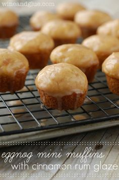 Eggnog Mini Muffins with Cinnamon Rum Glaze! These muffins go from the bowl to your mouth in less than 20 minutes, and they are so delicious! Muffin Recipes, Cupcake Recipes, Cupcake Cakes, Dessert Recipes, Cupcakes, Bundt Cakes, Yummy Recipes, Breakfast Recipes, Recipies