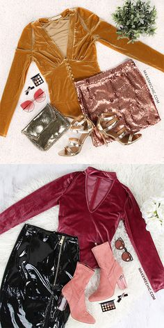 Long Sleeve Choker Velvet Bodysuit