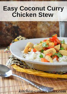 Easy Coconut Curry Chicken Stew with Coconut Rice #recipe #dinner #chicken