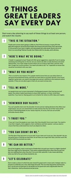 SEO Marketing Ideas 9 Things Great Leaders Say Every Day 9 things great leaders say everyday, leadership, inspiration, success People judge you by what you do--and by what you say. Here are nine phrases that should roll off your lips every single day. Leadership Skill, Leadership Development, Leadership Quotes, Self Development, Coaching Quotes, Professional Development, Achievement Quotes, Leader Quotes, Examples Of Leadership