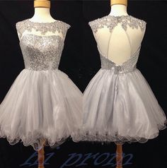 Homecoming Dress,2015 Modest Silver Gray Homecoming Gown,Grey Tulle Homecoming Gowns With Open Back Sequins Party Dress,Backless Prom Dresses,Short Cocktail Dress,Formal Gowns for Summer