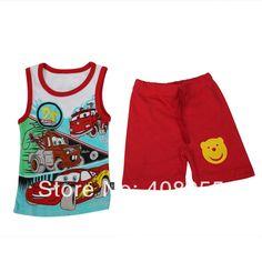 Factory Clearance2014 Summer Children Clothing Set baby Boy cotton Outfit vest Set Clothes Top+Shorts 2pcs soft cotton t-shirt
