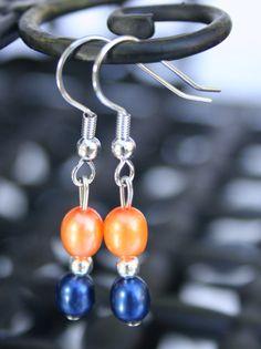 Freshwater pearl earrings in Orange and Navy Auburn Tigers, Chicago Bears, Denver Broncos, Detroit Tigers, University Virginia Cavaliers