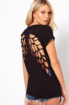 Angel Wings Black Cotton T shirt