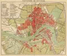 Plattegrond van Rotterdam, een antieke plattegrond van Rotterdam in Nederland door Winkler Prins uit 1910