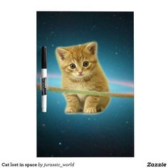 Cat lost in space dry erase board