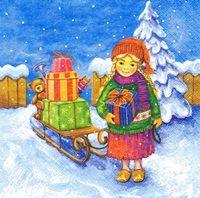 2073  Servilleta decorada Navidad