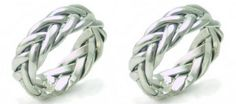 Set of 2 TWO Matching Celtic Braided Weave of Eternity Wedding Promise Bands Rings Handcast 925 Sterling SILVER | museumreplicajewelry - Jewelry on ArtFire