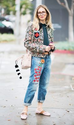 The Denim We Didn't Expect to See on Fashion Girls This Spring via @WhoWhatWear