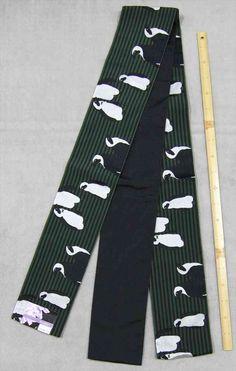 ペンギン柄 半巾帯 No.95 両面帯 グリーン地(1)