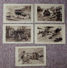Set-5-Comic-Motoring-Postcards-James-Henderson-A-run-down-in-the-country-etc