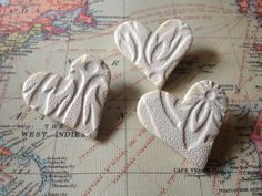 Small White Valentine Love Heart Handmade Ceramic Brooch Heart £3.00