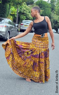 African print maxi skirt/midi dress in a bohemian by HouseofAfrika, £50.00