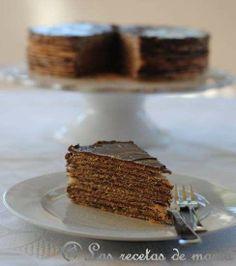 tarta de obleas y crema de cacao (HUESITOS) Superfácil