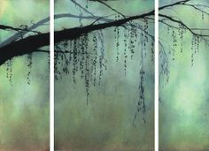 ivy jacobsen, string of pearls (tryptich), oil and bronzing powder on canvas, 2008