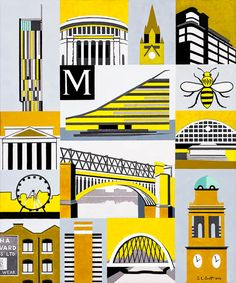 Manchester Art Prints - Manchester Yellow - Unique Art from Manchester Artists Manchester Town Hall, Manchester Art, Landscape Prints, Urban Landscape, Abstract Landscape, Manchester Landmarks, Yellow Sign, Abstract City, Lord