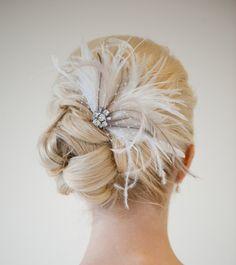 Bridal Fascinator Wedding Head Piece Feather by PowderBlueBijoux, $85.00