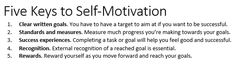 Five Keys to Self-Motivation. Transcribed from Brian Tracy.