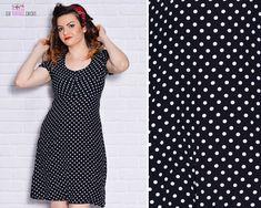 92c7600c7c4 80s Mod Dress Mini Polka Dot Black White Empire Waist Lolita Shift Dress  Short Sleeve Scoop Neck Day Retro A Line Minidress Small