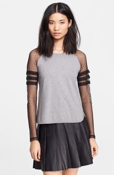 RED Valentino Point d'Esprit Sleeve Knit Top available at #Nordstrom