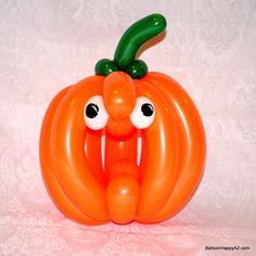 balloon twist pumpkin jack o lantern halloween fall decor centerpiece - Halloween Balloon Animals