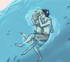 """Percy Jackson & Annabeth Chase - """"The best underwater kiss of all time."""" The Last Olympian"""