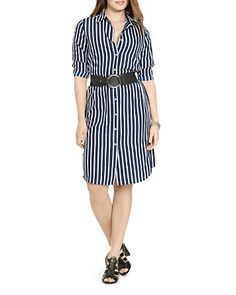 $Lauren Ralph Lauren Plus Striped Shirt Dress - Bloomingdale's