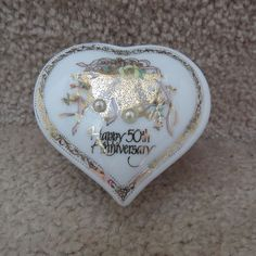 Roman In - Porcelain Heart Trinket Box - Happy 50th Anniversary