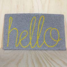 Hello Doormat in Grey with Yellow Hello