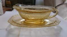 Vintage RARE Amber Madrid Gravy Boat with Underplate Federal Depression Glass
