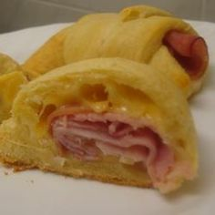 Ham and Cheese crescent roll ups.These would be good for breakfast on the go or a fast heat up lunch at work or home. I can't wait to try these this week at home.