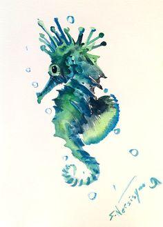Blue Green Seahorse, Original watercolor painting, 12 X 9 in, sea world animal art, sea animals