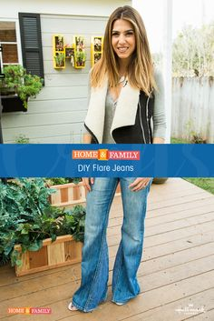Make your own pair of no-sew Flare Jeans! @orlyshani shows you how to create the classic look with little more than an old pair of jeans, some denim fabric and fabric glue! Pair them with a cute pair of wedges and you're good to go!