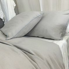 Stone Grey Duvet Cover with Duck Egg Blue Piping Available in Twin Full Queen King Calif. King or Custom size (from http://ift.tt/2jEZCZM)