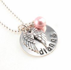 Angel Wings Memorial Personalized Hand Stamped Necklace
